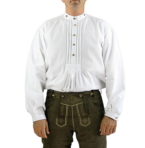 Cordes & Heseler 9594-1 Hemd Country Road House Trachtenhemd mit Stehkragen aus 100% Baumwolle in Farbe weiß Gr. 37 (erhältlich in 37 – 46)