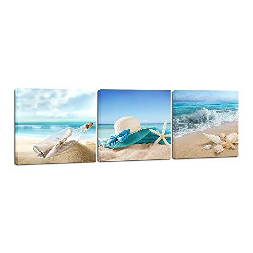 3 paneles estrellas de mar Seashell Beach Botella Fotos en lienzo Arte moderno de la pared del paisaje marino estiró y enmarcó Lámina Galerias Seaview paisaje ilustraciones Decoración
