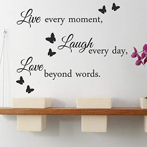 Live Laugh Love Wand Zitat Aufkleber Abnehmbare Vinyl Aufkleber Kunst Dekoration Für Wohnzimmer Schmetterling Wandbild Innen 69X42CM -