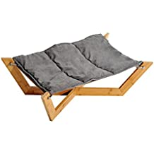 PawHut® Hundebett Hundeliege Haustierbett mit Kissen Hundekissen Bambus Kaffeebraun/ Grau (L91 x B50 x H23cm, Grau)