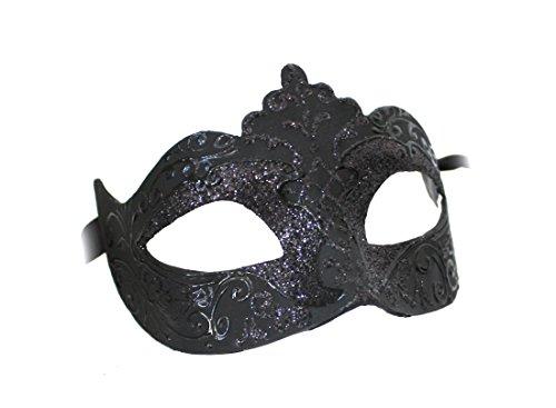 Unbespielt Handarbeit Original Venezianische Maske Damen Colombina Stella schwarz
