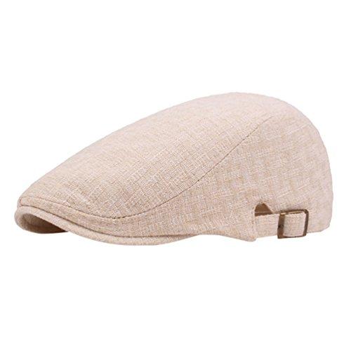 Yiiquan Unisex Mütze Golfermütze Schiebermütze Retro Newsboy Hat Flat Beret Classic Cap Beige