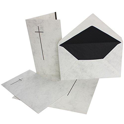30 stück Trauerkarten-set- Doppel-Karte (11,4x19,5 cm) mit Umschlag 12x20 cm, marmoriert mit Trauer-Kreuz für Trauer-Anzeige bei Todesfall