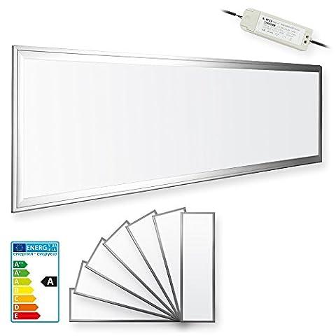 7x LEDVero 120x30 Panneau Ultraslim de LED dimmable - 36W, 3000lm, 4500K Plafonnier encastré avec clips de montage et transformateur EMV2016 dimmable - blanc neutre
