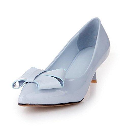 AgooLar Damen Pu Leder Mittler Absatz Spitz Zehe Rein Ziehen Auf Pumps Schuhe Blau