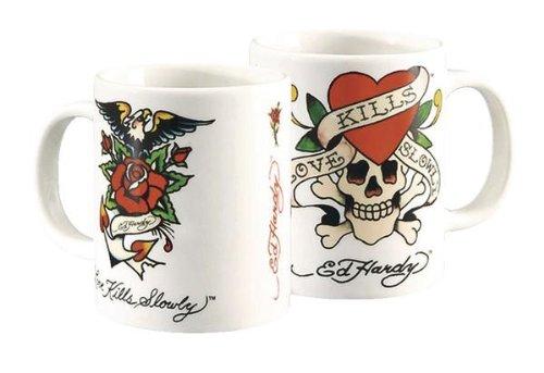 ED HARDY: LOVE KILLS SLOWLY - Original Ed Hardy Tasse, ca.0,3 l, kommt in einer Box im Tattoo Design