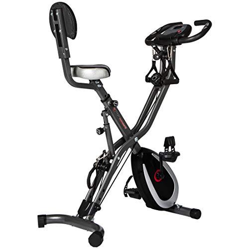 Ultrasport F-Bike 400BS Fahrradtrainer Cross mit Rückenlehne, Zugbandsystem, LC-Display und App, faltbar, dunkelgrau/schwarz