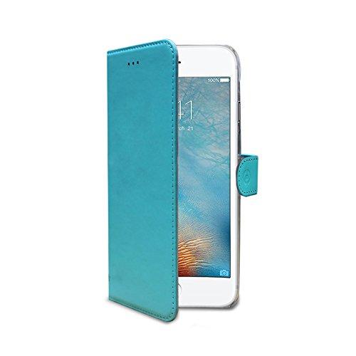 Celly Wally Case Etui portefeuille en cuir pour iPhone 7 Rose Bleu