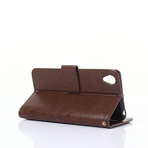 Meet de Case pour Apple iphone 7 PU Housse, papillon print / Folio Wallet / flip étui en cuir / Pouch / Case / Holster / Wallet Style de Coque pour téléphone portable Étui Porte-monnaie en cuir étui d brun