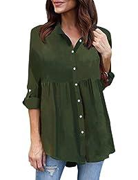 Modaworld Camisas con Botones Mujer Tallas Grandes de chifón Casual de Manga Larga para Mujer Camiseta de Trabajo Señoras Blusas de…