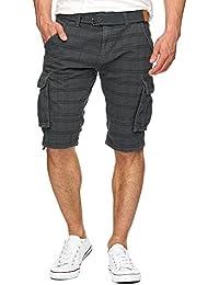 Indicode Herren Monroe Check Karierte Cargo Shorts Bermuda Kurze Hose inkl.  Gürtel 0a5eba967c