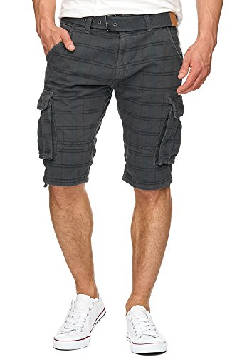 Grau Kariert Shorts (S!RPREME Karierte Herren Cargo Shorts inkl. Gürtel Bermuda Kurze Hose Jeans Karo Chino Battlefield 70-050 Grau XL)
