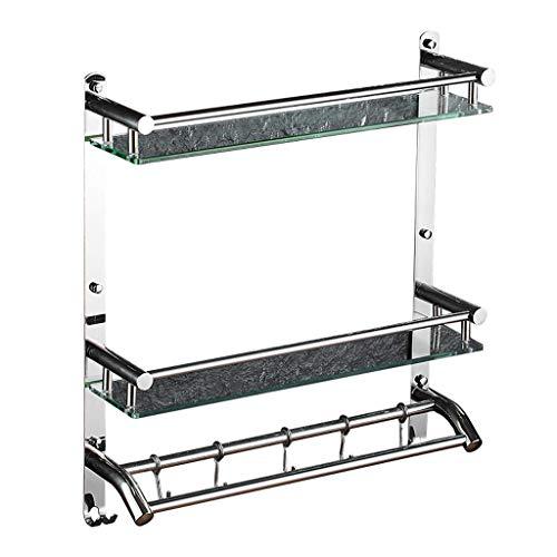 1949shop Badezimmer Regale? 2 Ebenen Badezimmer aus gehärtetem Glas Regal 8 MM-Dicke Wandhalterung Rechteckige Chrom poliert Halterung Handtuchhalter (Größe: 61 cm) -