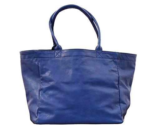 MON PARTENAIRE M Bleu électrique cabas en cuir sac à main style vintage PAUL MARIUS