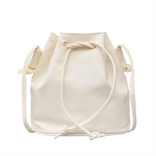 URSING Ledertasche Classic Reine Farbe Drawstring Eimer Tasche Crossbody Messenger Bag Frauen Handtasche Schulranzen Satchel Beuteltasche Schultertasche Damenmode (Weiß) ()