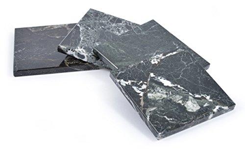 Marmor-Untersetzer-Set, 4-teilig,quadratisch schwarzer marmor - Fossil Marmor