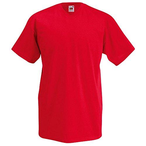 Fruit of the Loom Valueweight V-Neck T-Shirt in verschiedenen Farben und Größen Rot
