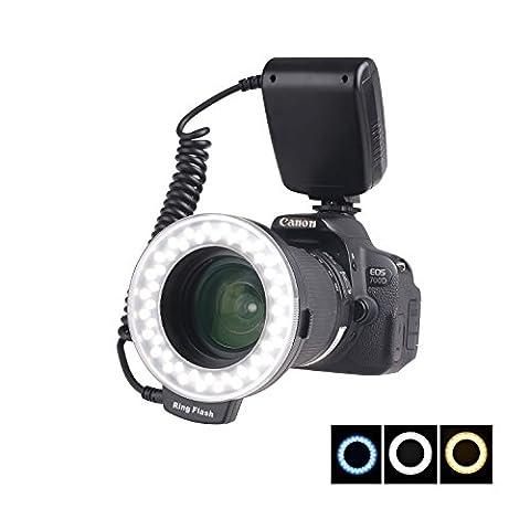 samtian 48Macro Bague LED Lampe flash pour appareil photo Canon/Nikon/Panasonic/OLYMPUS/Pentax SLR (Bague Tête de bague, régulateur de puissance avec affichage LCD, 4x Adaptateur diffuseur de flash, 8x macro)