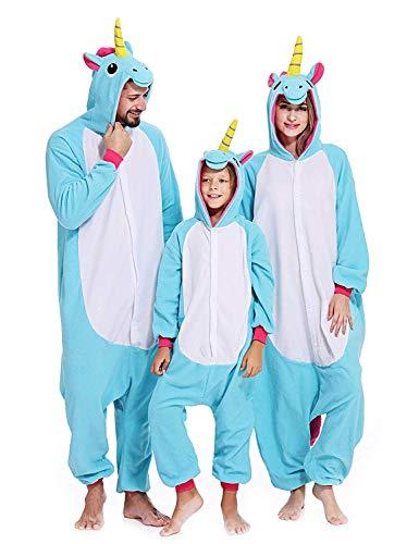 (Ghope Animal style kigurumi Licorne Pyjama Adulte Anime pyjamas tenue Onesie Cospaly Fête Flannels Costume Animaux Anime Halloween Onesie blau S)