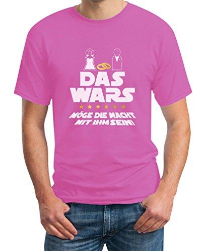 Junggesellenabschied T-Shirt JGA Bachelor Party Outfit - Das Wars Möge Die Macht Mit Ihm Sein T-Shirt Medium Rosa