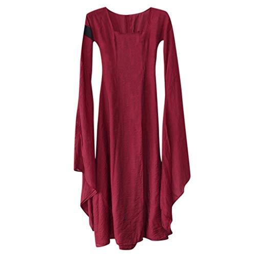 Gute Womens Kostüm - RYTEJFES Damen Mittelalterliche Kleid mit Trompetenärmel Mittelalter Party Kostüm Maxikleid Mittelalterliches Kostüm Women Lange Ärmel Renaissance-Kleid