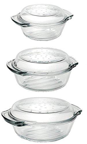 Einzelne Glas Auflaufformen mit Deckel Grill & Drop in versch. Größen zur Auswahl Größe 1,0L