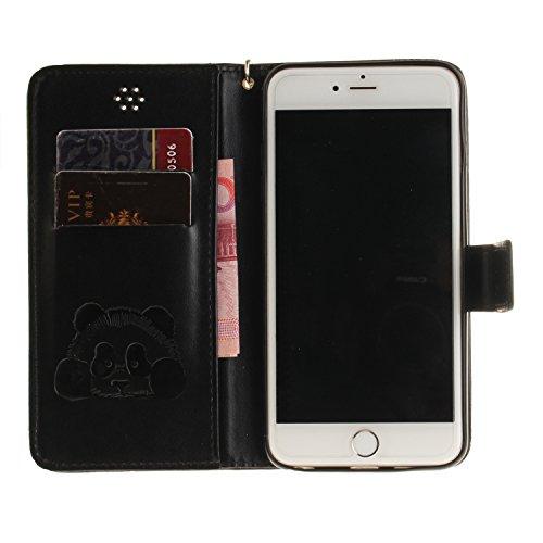 Custodia iPhone 6s Plus Case, SsHhUu Cover Portafoglio in Vera Pelle [Carta Fessura] [Magnetica Chiusura] con Penna Capacitiva e Lanyard per Apple iPhone 6 Plus / 6s Plus (5.5) Grigio Nero