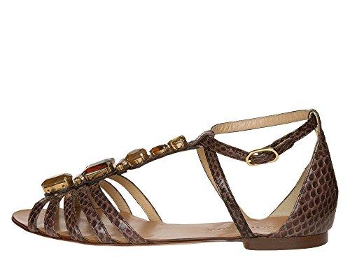 DOLCE&GABBANA Femmes Sandales cuir véritable Marron