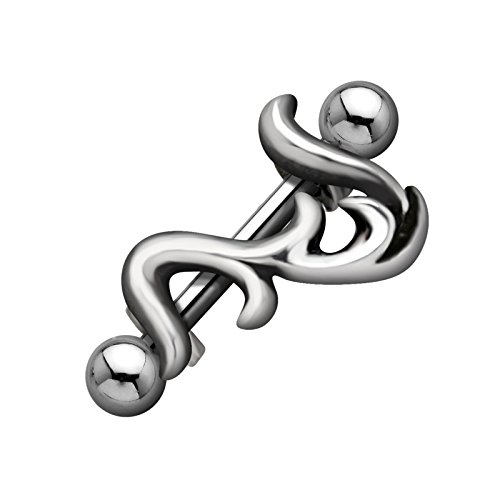 FIVE-D SL-Silver Augenbrauen Piercing Tribal 1,2x10 mm