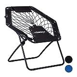 Relaxdays Bungee Webster, silla de jardín elástica para exteriores con almohada para el cuello, plegable, hasta 100 kg, negro-gris