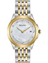 Bulova Ladies Diamond Women's Quartz Watch with White Dial Analogue Display and Silver Stainless Steel Bracelet 98S161