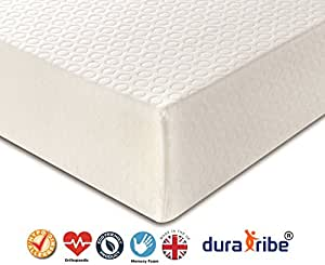DuraTribe Golden Sleep 2000 Orthopaedic Memory Foam Mattress with Washable Zip-off Cover - 20 cm Deep Mattress - FIRA Tested to BS 7177 British Safety Standards (Double (135 cm x 190 cm))
