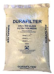 Durafilter Sustainable Pool Filter Sand Replacement Glass Media. 25 Kilogram Bag of 0.5-1.00 mm Fine Grade 1. Perfect for Large Swimming Pool Filters.