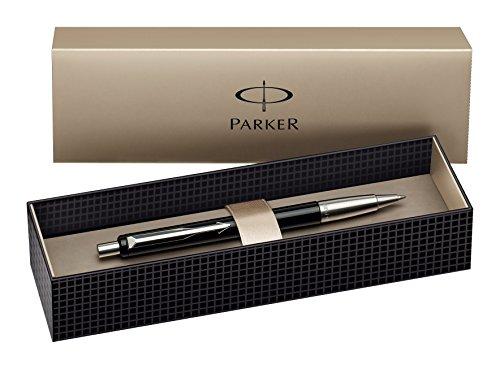 parker-vector-stylo-bille-noir-attributs-chromes-dans-son-ecrin-encre-bleue
