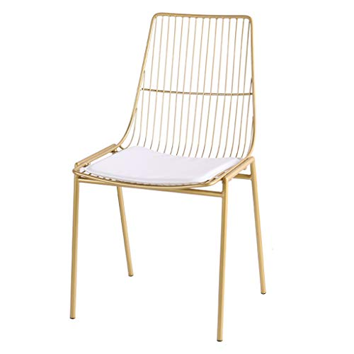 LRZS-Furniture Nordic Tea Shop Draht Stuhl Stuhl Schmiedeeisen Kreative Freizeit Cafe Tisch Und Stuhl Zurück Stuhl Designer Stuhl (Farbe : Gold)