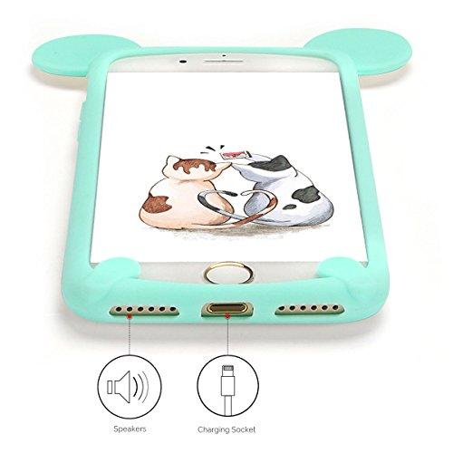 Cover iPhone 7 Case iPhone 8 Custodia Spiritsun Soft TPU Candy Handy Case Cover 3D Cartoon Case Elegante Flexible Morbida Ultra Silicone Ultra Sottile Case Phone Cover Case Per iPhone 7/8 (4.7 Pollici Menta verde