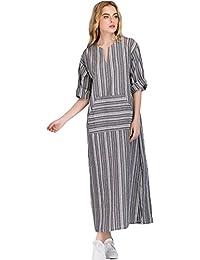 Là Vestmon Vestito da Donna Abito Sciolto Manica Lunga Retro Lino Cotone Abiti  Lunghi Donna Eleganti 0507fe67724