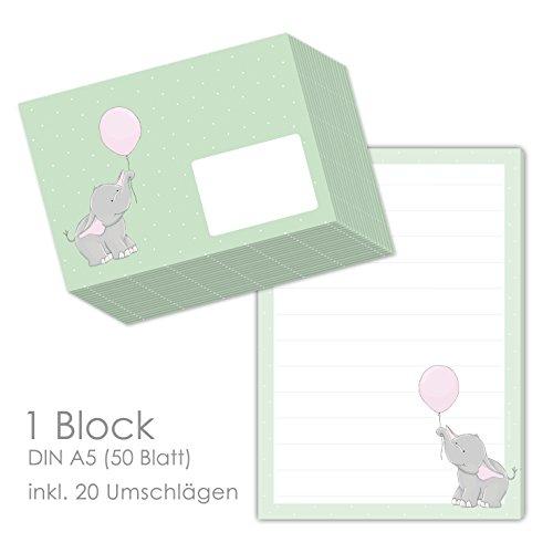 'bloque de texto/carta bloque 'Elli elefante DIN A5(renglones 50hojas) Incluye 20passenden Sobres/Papel de carta para niños/Papel de carta Juego infantil