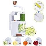 Premium Gemüsehobel, Vertical Gemüse Spiralschneider mit 4 Klingen Rostfreiem Stahl, Home Gemüseschneider Für Spaghetti Nudel/ Zucchini/Karotte/Gurken (Mit einem Schäler und Reinigungsbürste)