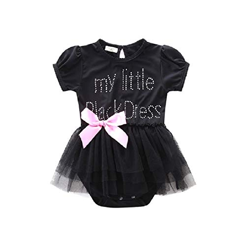 Bow Tie-overlay (CuteRose Girl Kids Skirts with Mesh Overlay Bow Romper Bodysuit Jumpsuit Black 90)