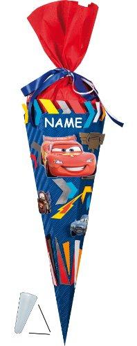 alles-meine.de GmbH BASTELSET Schultüte - Disney Cars 85 cm - incl. Namen - mit / ohne Kunststoff Spitze - Zuckertüte Nestler ALLE Größen - 6 eckig Queen Lightning Auto Jungen (Für Bastelpackungen Jungen)