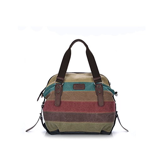 Nicole&Doris Nuove donne / signore Canvas Handbag Tote del messaggero di Crossbody di contrasto di colore Stripes Big Bag Contrasto di colore - Cuore Canvas Tote