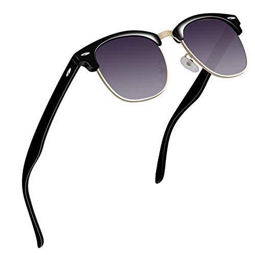 VVA Sonnenbrille Herren klassischer Retro-Halbrahmen Polarisiert Sonnenbrillen für Herren Damen V1002(Gold Violett)