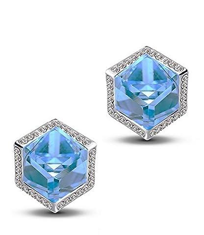 Boucles d'oreilles en argent plaqué océan bleu Swarovsski Elements Cristal