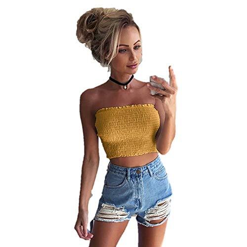 Lazzboy Donna Tube Crop Top Senza Maniche a Pieghe Senza Spalline Taglia 40-46 Sexy Blusa Sciolta, Sei Colori(S(40),Giallo)