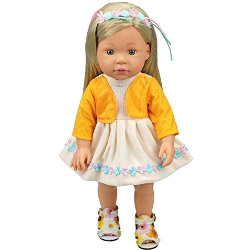 BZLine® DIY Puppe Kleidung Kleid für 16 Zoll Puppe Baby Kinder (Gelb) (In 16 Kleidung Puppe)