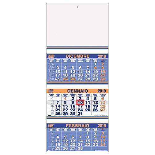 Calendario murale Trittico FLUO 2019 a 3 blocchi ARANCIO 33x80 - calendario 3 mesi