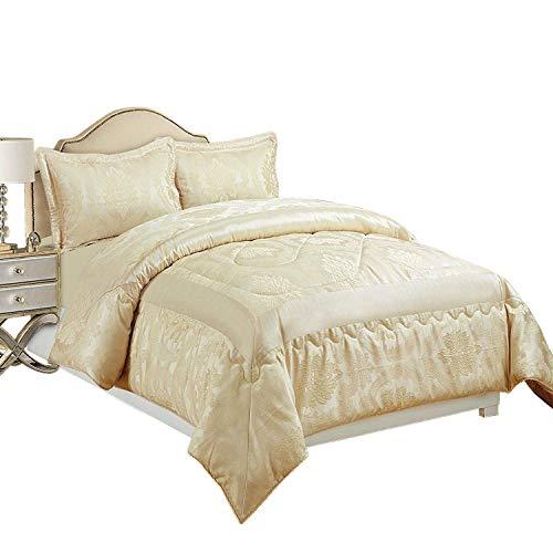 Jacquard Daunendecke / Tagesdecke / Bettwäsche-Set, gesteppt, Größe: Doppelbett & Kingsize inkl. passende Vorhänge, Betty Cream, König Tagesdecke