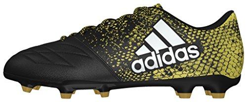 adidas X 16.3 Fg Leather, Scarpe da Calcio Uomo Nero (Core Black/ftwr White/gold Metallic)
