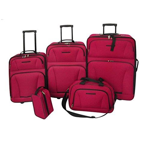vidaXL Set da Viaggio 5 pz Borsa a Mano 3 Trolley Borsetta Toelette Rosso